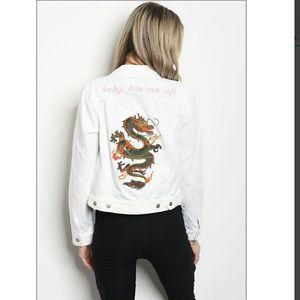 Jackets & Blazers - NWT White denim jacket with Drago detail